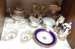 SECTION 8. A pair of Herend porcelain pierced oval flower encrusted baskets, and three Mappin & Webb