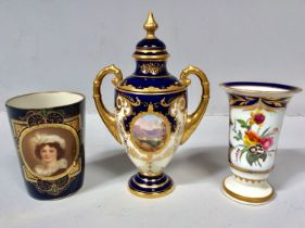 A Royal Vienna porcelain beaker painted with a portrait of a young lady, to a blue ground with