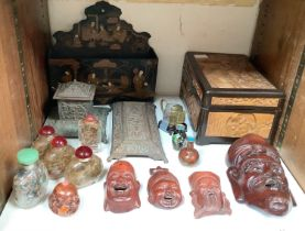 SECTION 23. Various Oriental hardwood carved masks together with some Chinese reverse painted