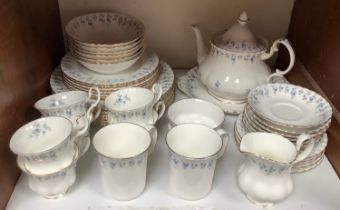 SECTION 18. A Royal Albert 'Memory Lane' pattern bone china six place dinner service comprising cups