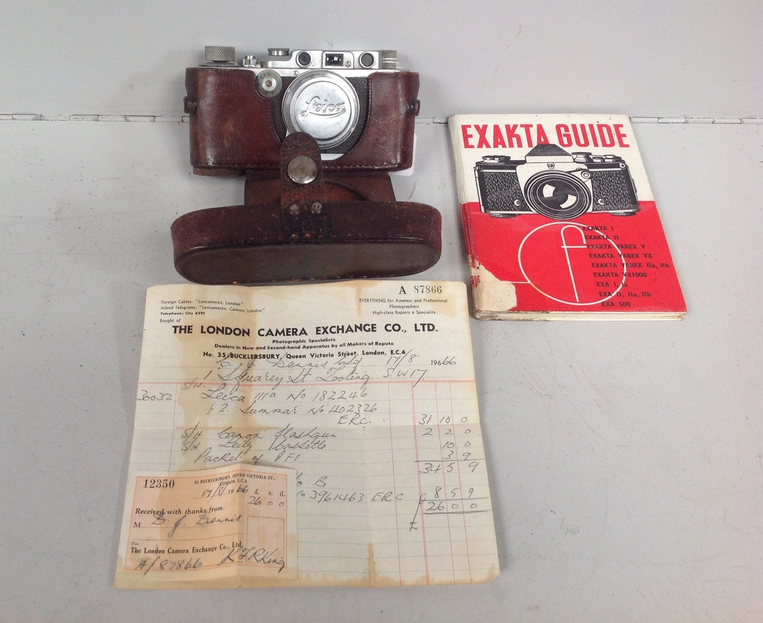 A Leica 3a camera no. 309916 fitted with a Summar 50mm F2 lens no. 376099 with original receipt from