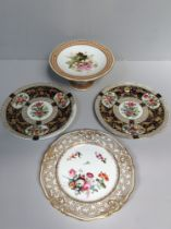 A 19th century Royal Worcester porcelain comport painted with flowers and jewelled rim, a