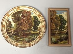 A Minton pottery large circular wall charger decorated with a figural river landscape, circa 1862-