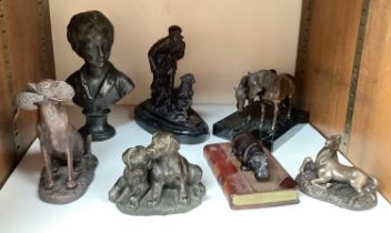 SECTION 21. A cast and patinated bronze figure-group of two ponies on black marble base, together