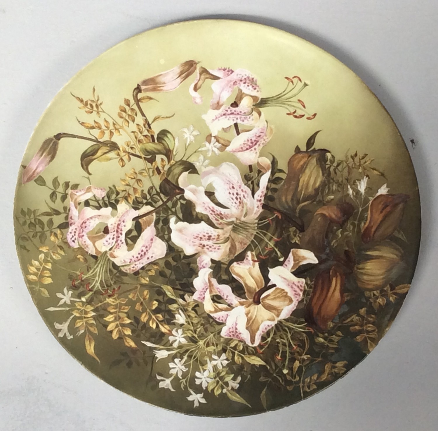 A Minton pottery large circular wall charger decorated with a figural river landscape, circa 1862- - Image 2 of 2