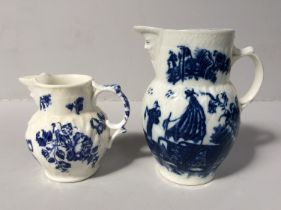 A first period Worcester porcelain small leaf-moulded mask jug with printed floral decoration,