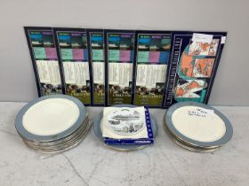 A collection of 15 Royal Viking Line plates including a side plate, signed by the captain of the