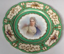 A mid-19th century Sevres porcelain cabinet plate, painted to the centre with a half-length portrait