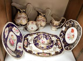 SECTION 27. Various early 19th century English porcelain plates, jugs and tea wares with hand-