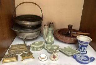 SECTION 5. Wedgwood Jasperware pin dishes, pots, oil burner and vases, together with a pair of