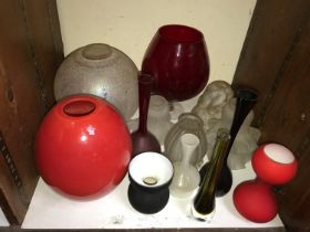 SECTION 32. Various coloured glass including bottles, vases and lamp shades etc.