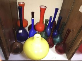 SECTION 28. Fifteen various coloured glass and coloured overlay glass bottles / vases