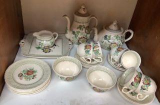 SECTION 13. A Masons Paynsley part tea service comprising teapot, coffee pot, milk jug, cake