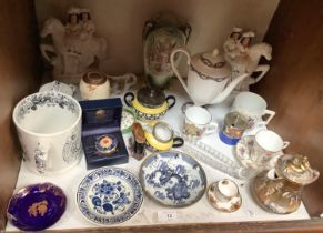 SECTION 12. Mixed ceramics including a pair of Staffordshire flatbacks 'Going to Market' and '
