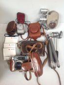A mixed lot of cameras and camera equipment including Leica Mini camera, Sony 10x digital camera,