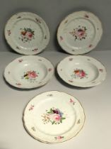 Three early 19th century Derby dinner plates and two soup bowls, moulded to the rims with