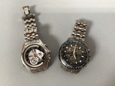 Two gents stainless steel Citizen Eco-Drive wristwatches comprising a WR 200 Skyhawk A.T, with