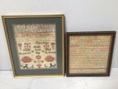 Two various 19th century needlework samplers including one 'Ann Thraves 1843 Fear God and Honour the
