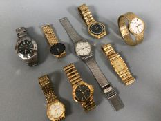 Eight assorted ladies and gents wristwatches including four gold-plated Citizen examples etc.