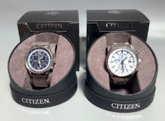 Two gents Citizen Eco-Drives, one with white dial, batons denoting hours, three subsidiary dials and