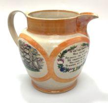 A Sunderland 'orange' lustre jug printed with fully-rigged ships, verse and 'Jack's Safe Return,' (