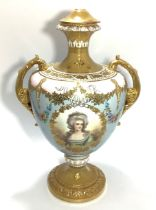 A Royal Bonn Germany two-handled baluster vase, with ornately gilded and floral decoration, one side