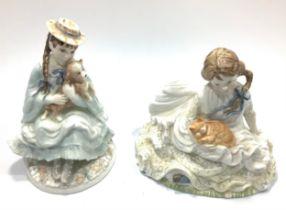 A Coalport ltd edition figure, 'Best Friends,' 16cm high, and Royal Worcester figure 'Safe at Last,'