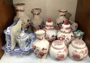 A collection of assorted Masons Ironstone ceramics comprising vases, ginger jar and covers,