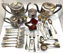 A small collection of assorted silver and silver-plated wares comprising a silver caddy spoon and