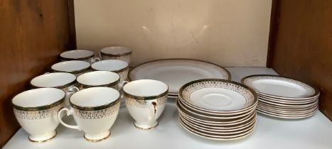 A Royal Grafton 'Majestic' pattern part tea and dinner service comprising tea cups, saucers,