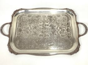 A two-handled silver-plated serving tray by Viners of Sheffield, of rectangular form, with