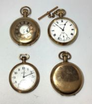 Four assorted yellow metal cased pocket watches comprising a full-hunter, with white enamel dial,