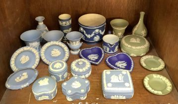 Twenty two pieces of Wedgwood Jasperware including heart shaped pin dishes, trinket pots and covers,