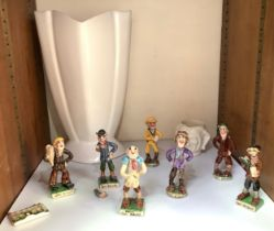 A collection of seven various Widdicombe pottery figures including Peter Daley, Bill Brewer and