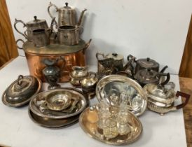 Two boxes of silver-plated wares including a four piece tea and coffee set by Castiglioni & Co, wine