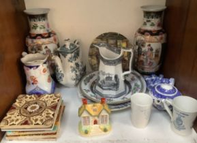 A collection of assorted mixed ceramics comprising a pair of 20th century Chinese baluster vases