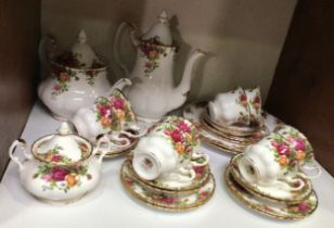 A Royal Albert Old Country Roses pattern part tea and coffee service comprising teapot, coffee