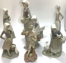 Six assorted Lladro porcelain figures, predominantly modelled as ladies with geese, one with a