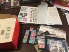 Stamps : Small box of albums, loose, Jersey mint,