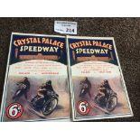 Speedway : Crystal Palace programmes (2) v Notting