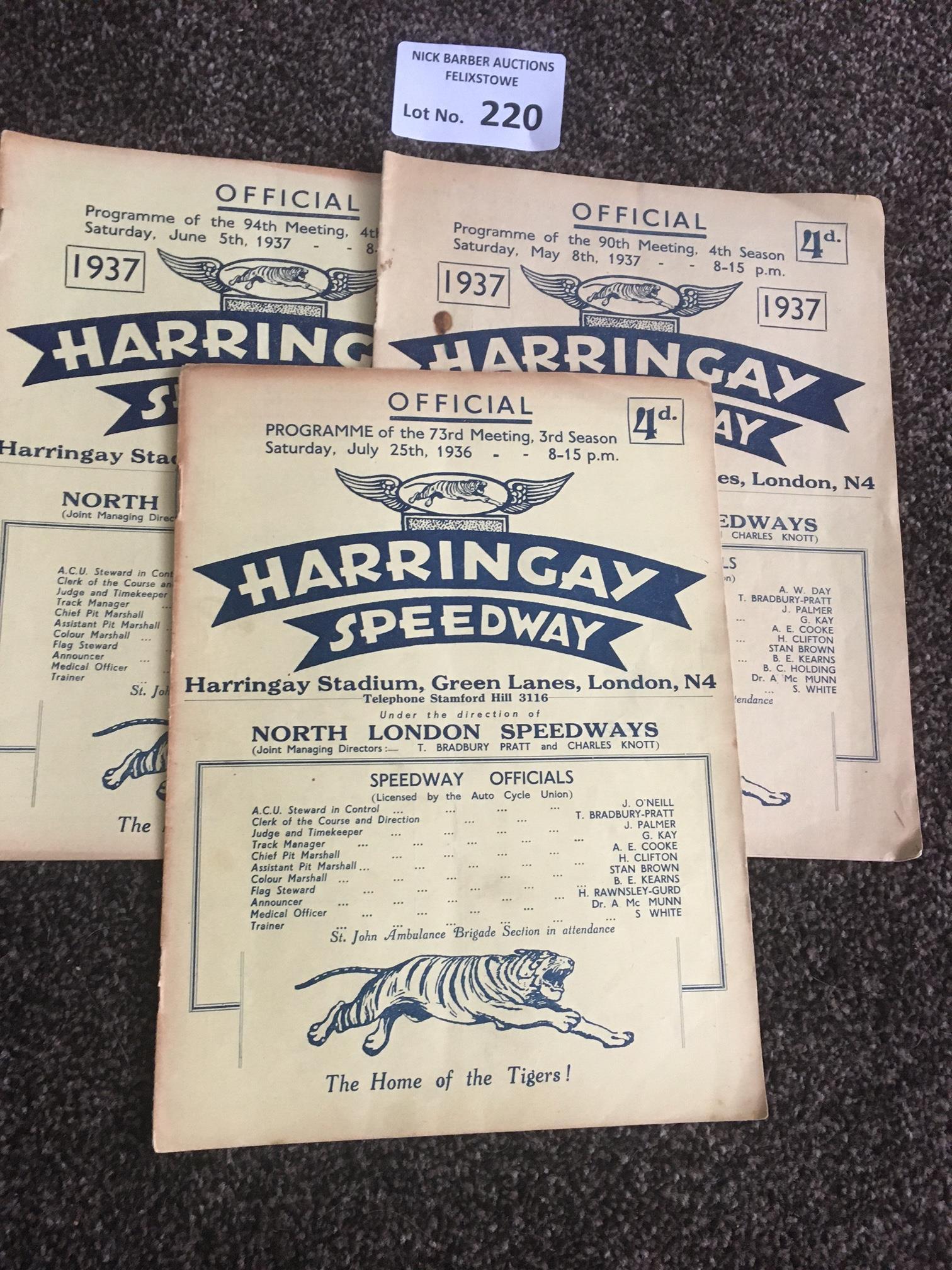 Speedway : Harringay progs (3) v New Cross 05/06/1