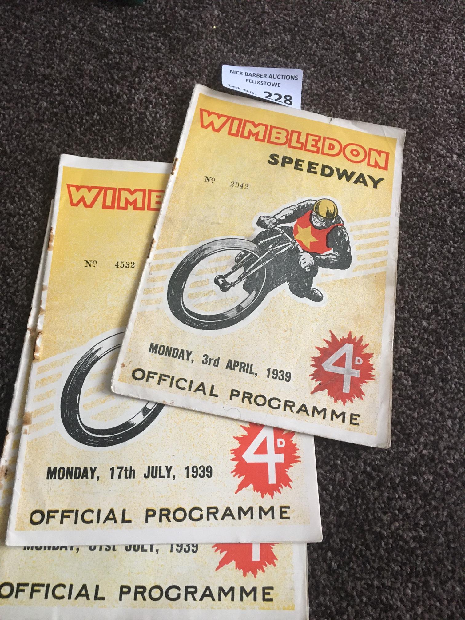 Speedway : Wimbledon progs (3) v Harringay 31/07/1