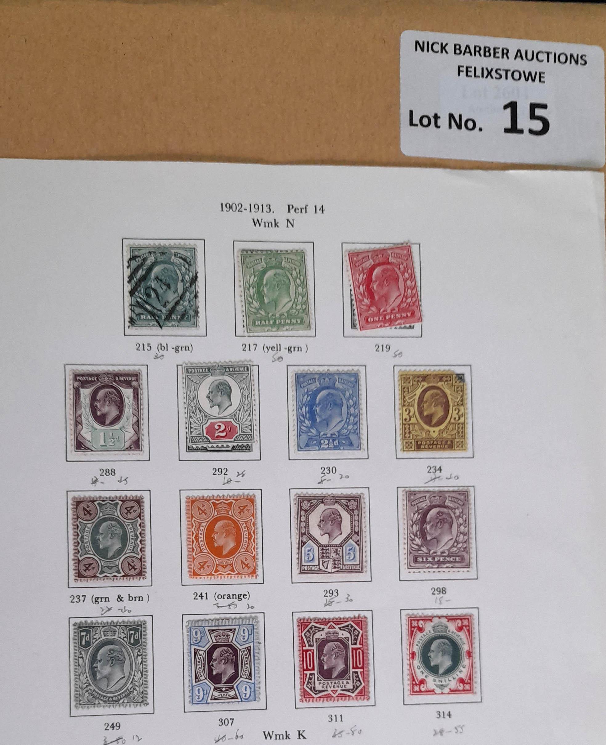 Stamps : GREAT BRITAN KE VII 1902/11 set to 1/- M