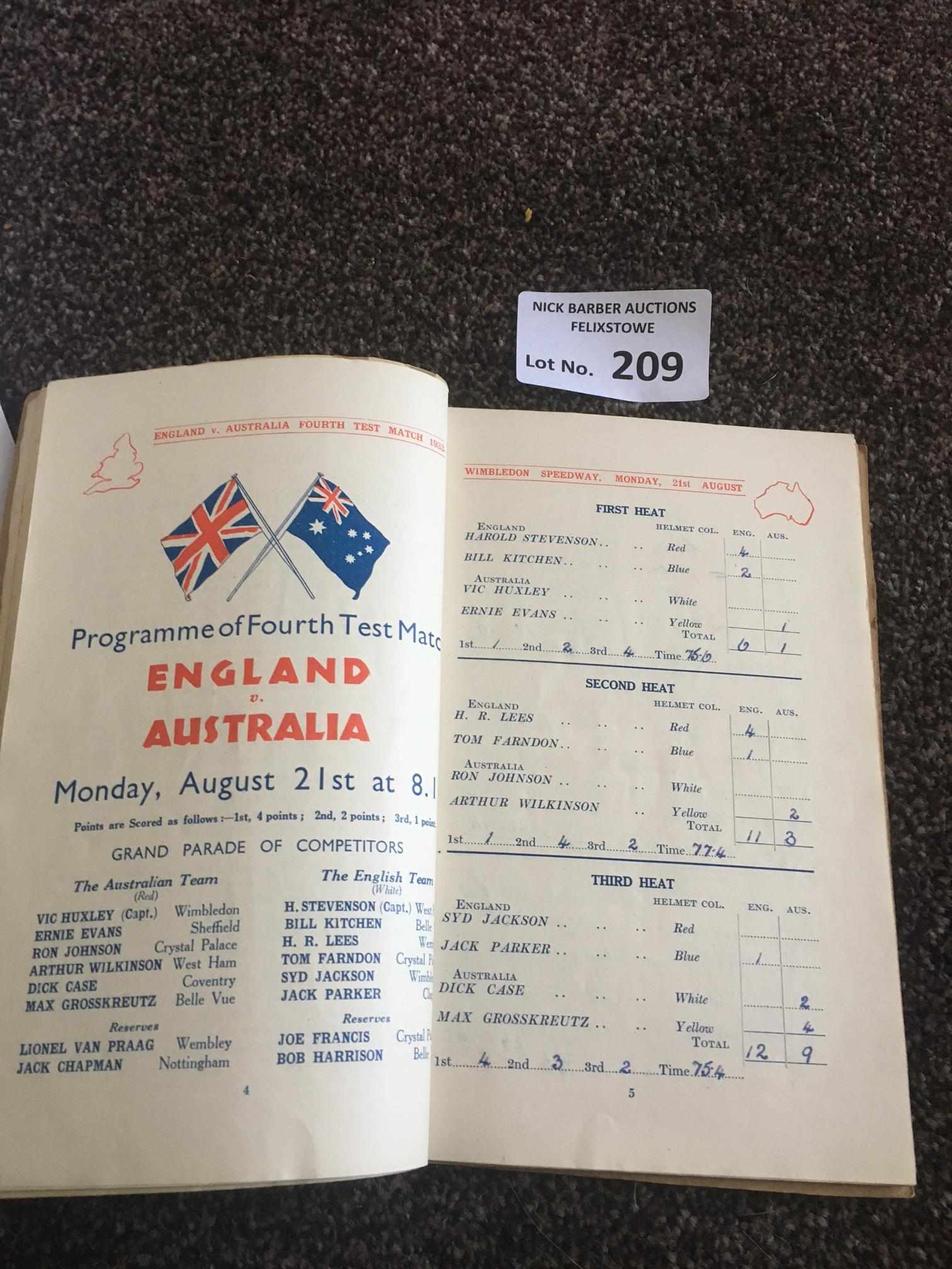 Speedway : Wimbledon home bound programmes 1933 in - Image 2 of 2