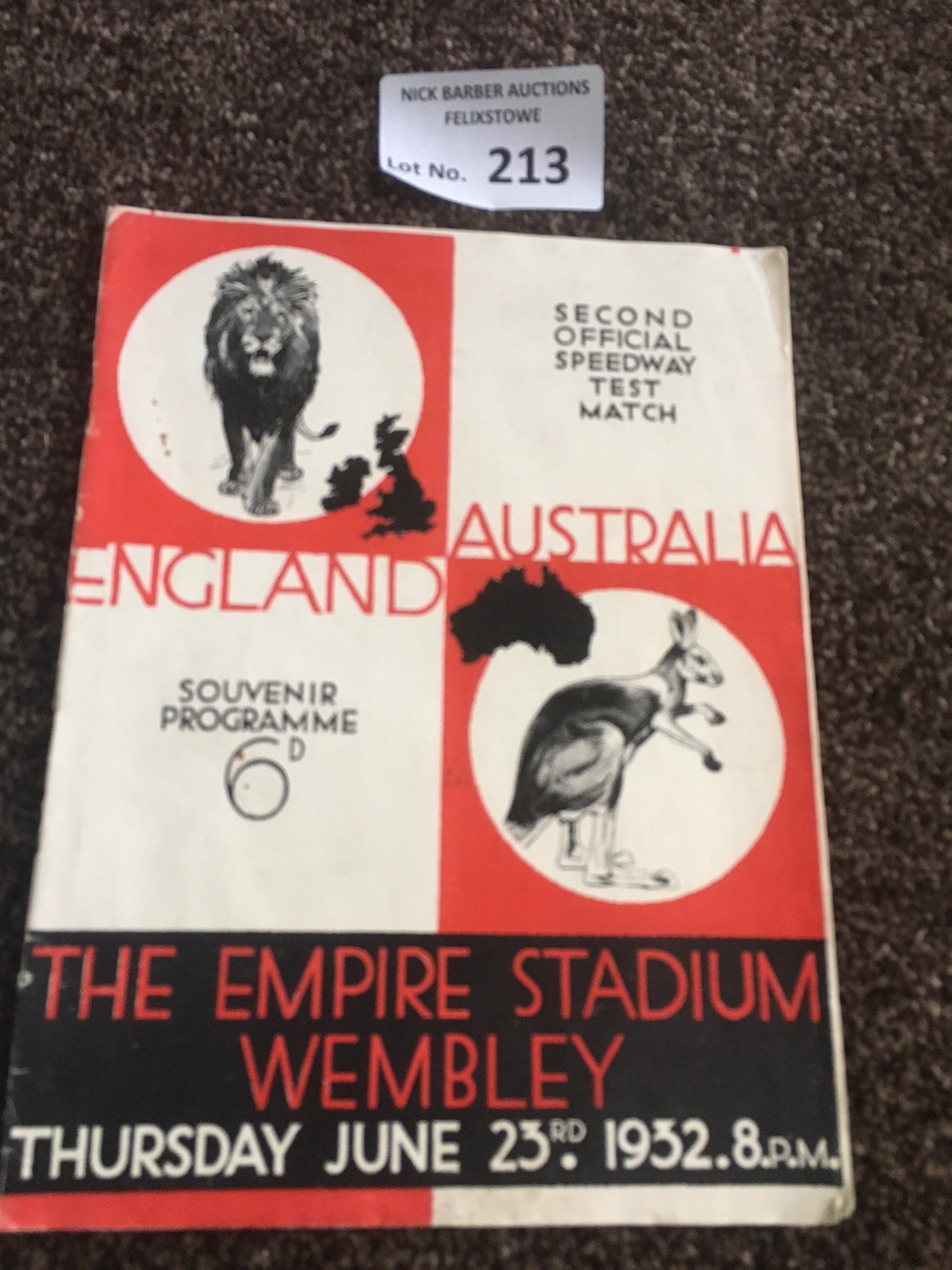Speedway : Wembley - England v Australia 2nd Test