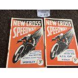 Speedway : New Cross progs (2) v Wembley 01/09/193