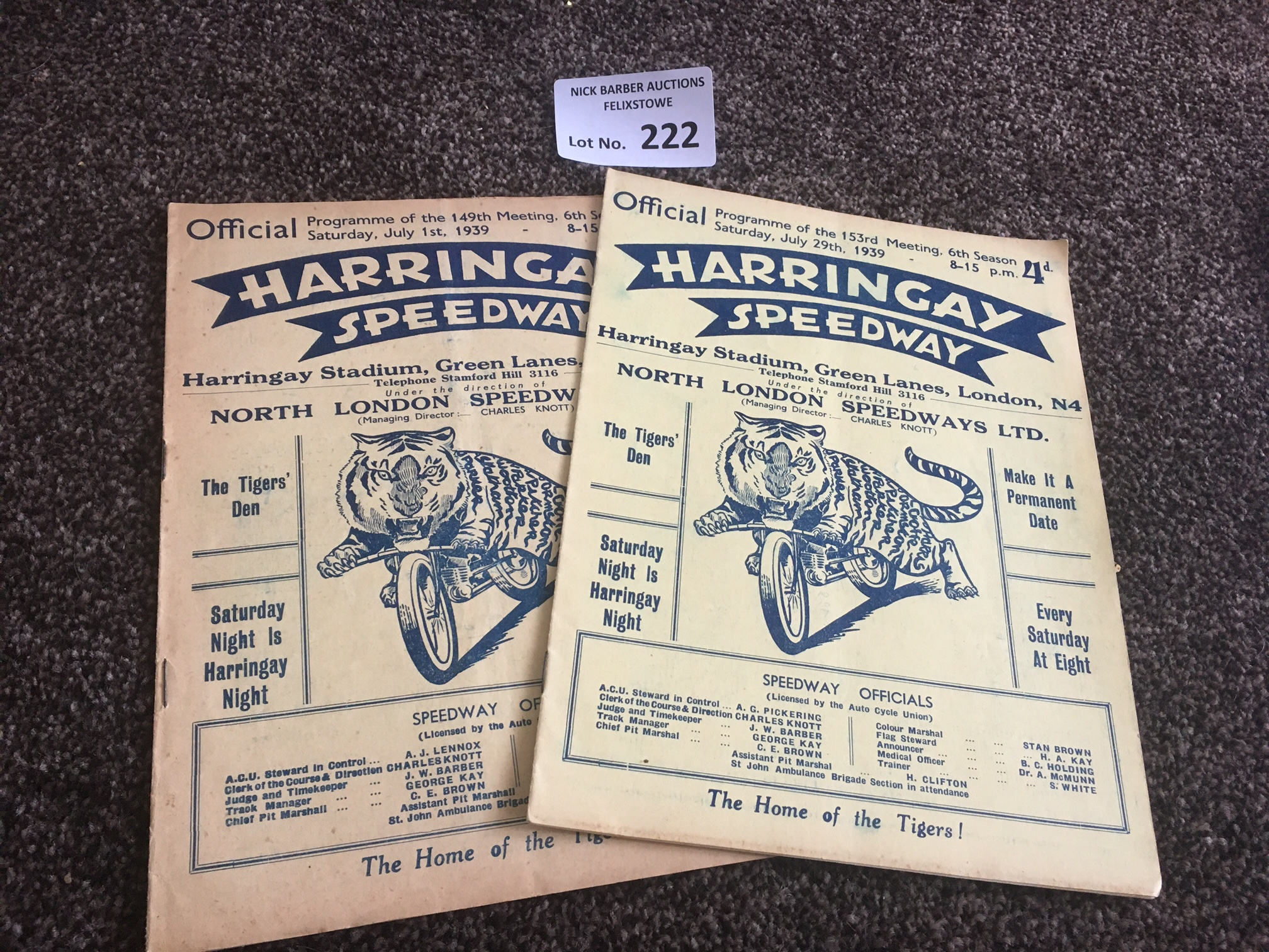 Speedway : Harringay progs (2) World Champs Qfr 01