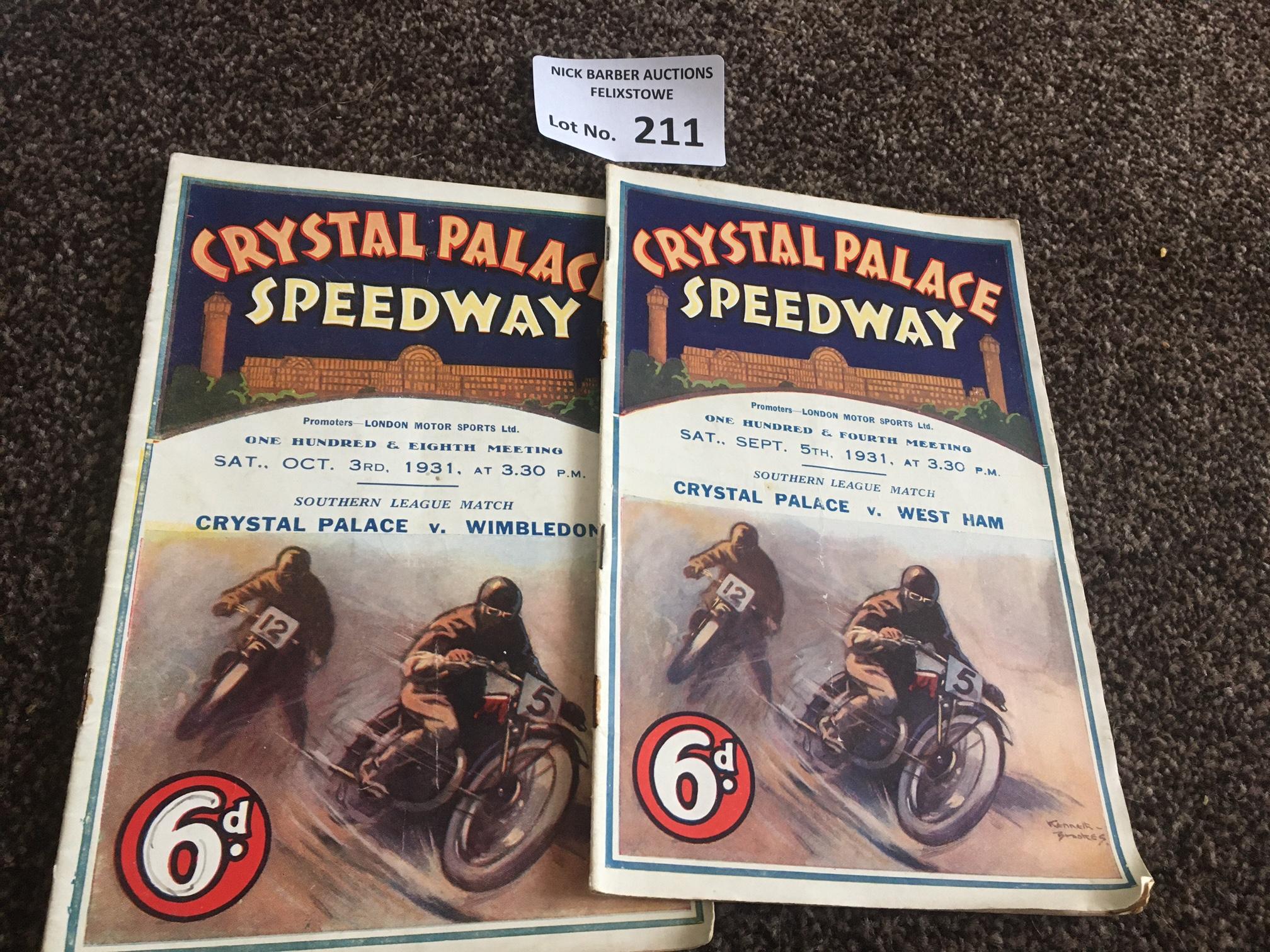 Speedway : Crystal Palace programmes (2) v Wimbled