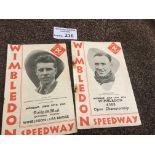 Speedway : Wimbledon progs (2) Open Champs 14/05/1