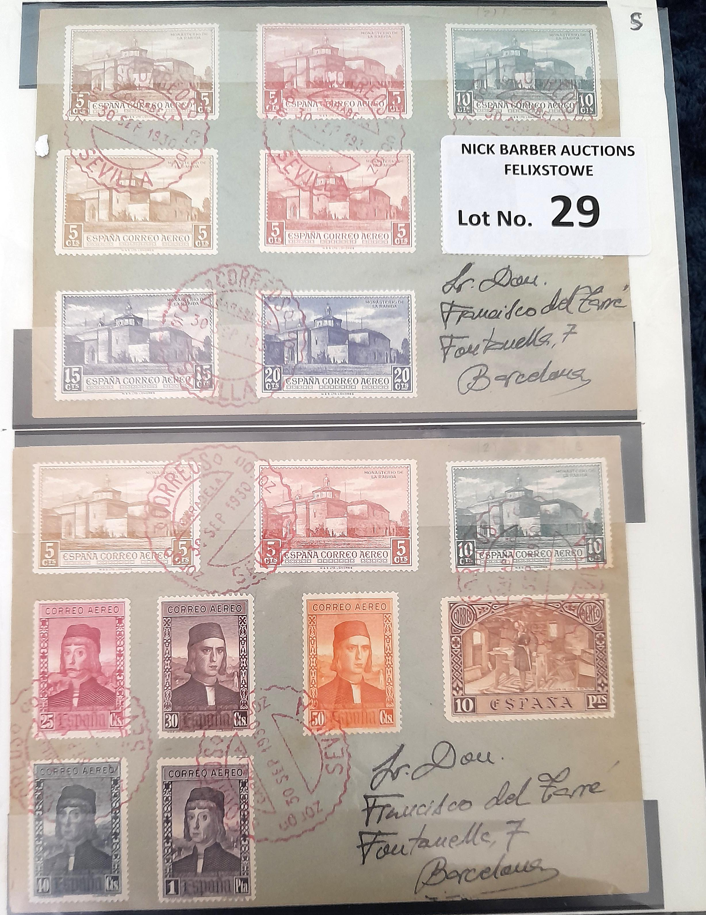 Stamps : SPAIN 1930 Columbus Air Set on 2 covers w